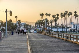 View looking down Stearn's Wharf towards the city in Santa Barbara, CA