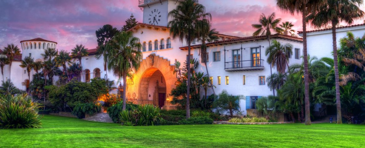 Santa Barbara County Courthouse and Sunken Gardens at Sunset