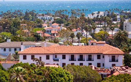 View of Santa Barbara and ocean from County Court House Observation Deck