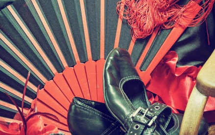 Flamenco shoes, fan, and ribbon