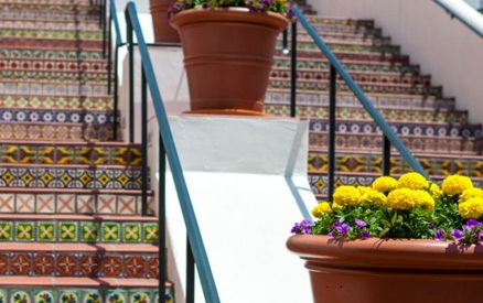view of santa barbara paseo staircase