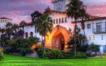 a photo of the courthouse at sunset, it is just one of the many historic landmarks that you will find in Santa Barbara!