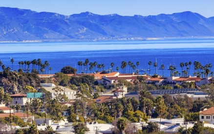 view of Santa Barbara's skyline showing local architecture with ocean off in the distance