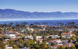 Buildings along the Pacific Coastline Santa Barbara California