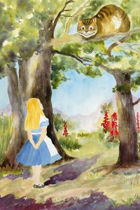 watercolor painting of Alice from Alice in Wonderland